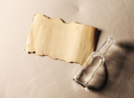 message in a bottle. The paper is blank to put whatever message you desire photo