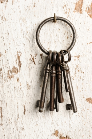 old keys group on wall Stock Photo