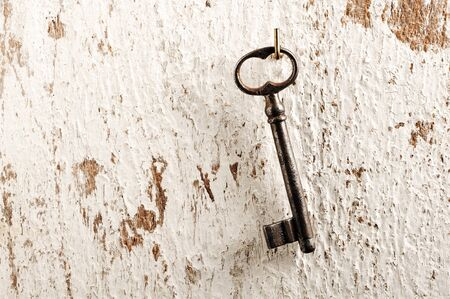 antique key: old key, wall background