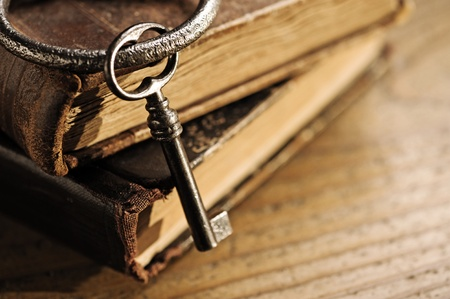 old keys: old keys on a old book, antique wood background Stock Photo