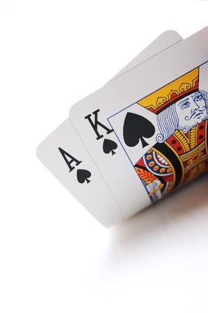 texas holdem: winning texas holdem hand, ace, king  Stock Photo