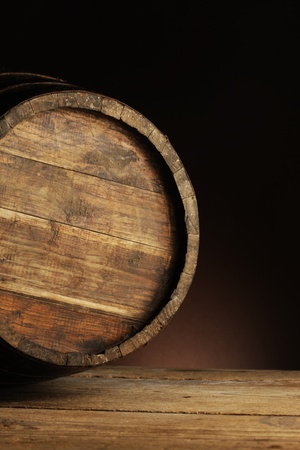 wooden old wine barrel, close up photo