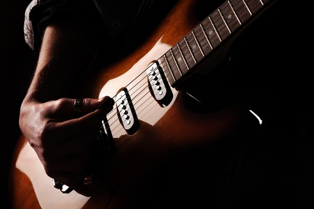 electric guitar: close up of hands guitarist