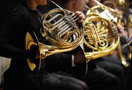 french horn: french horn during a classical concert music Stock Photo