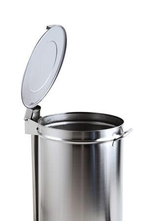 garbage bin of steel stainless with opening pedal of white background photo