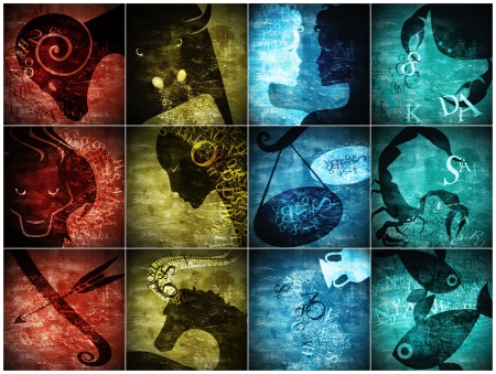 grunge art zodiac sign photo