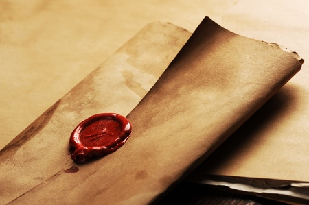 wax seal on a grunge paper Stock Photo - 12275157