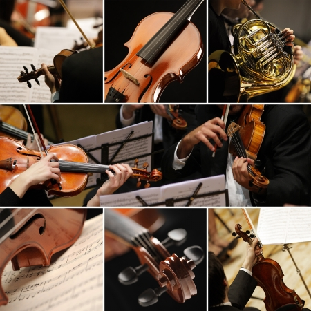 music sheet: classical music collage Stock Photo