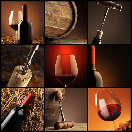 glass of red wine: wine collage