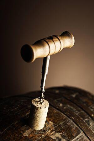 oak barrel: corkscrew and wooden barrel