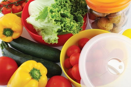 plastic container: plastic containers for storing food in the fridge Stock Photo