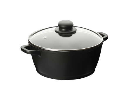 nonstick: nonstick pan with lid, isolated on white background