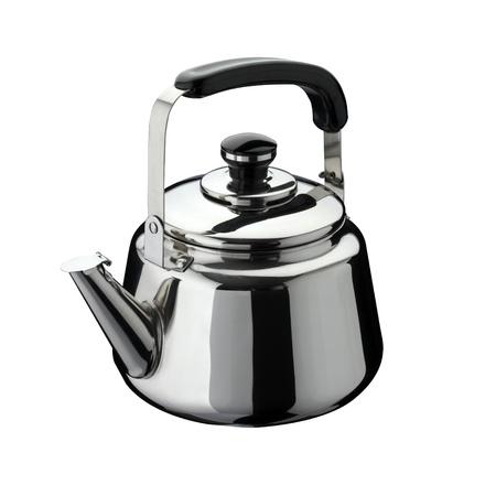 kitchen tools: keukengereedschap: ketel op roestvrij staal, geïsoleerd op witte achtergrond Stockfoto