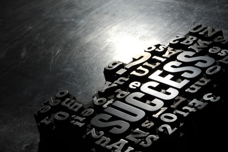 letterpress type: Old Metallic Letters:Success concept related words
