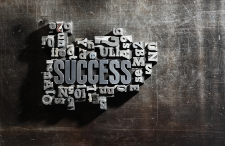 definition: Old Metallic Letters:Success concept related words