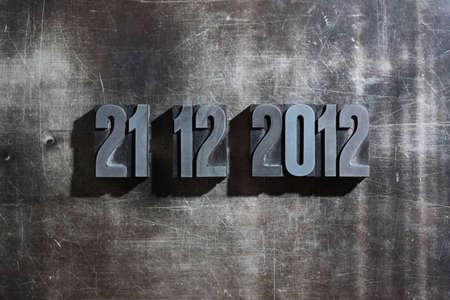 doomsday: antique metal letter-press typ: Doomsday 21. December 2012