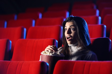 scary movie: portrait of a pretty girl in an empty theater, she has expression of surprise and fear on his face photo