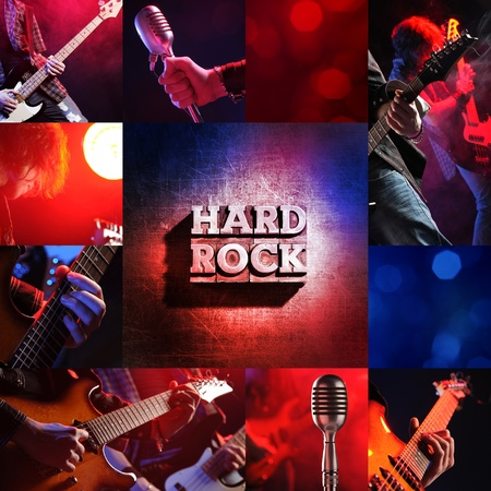 rock live concert collage, guitarist and bassist photo