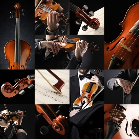 solo violinist: the violinist collage: Musician playing violin  Stock Photo