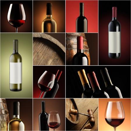 bouteille de vin: collage du vin, belle collection d'images � vin