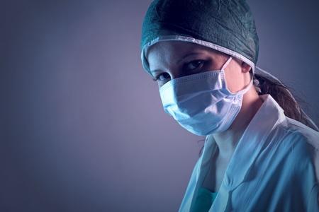 Close-up portrait of a young female nurse  photo