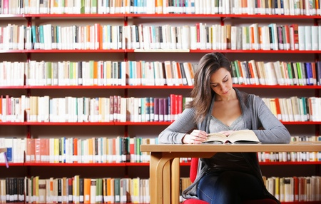 Portrait of a student  girl studying at library Stock Photo - 12844409