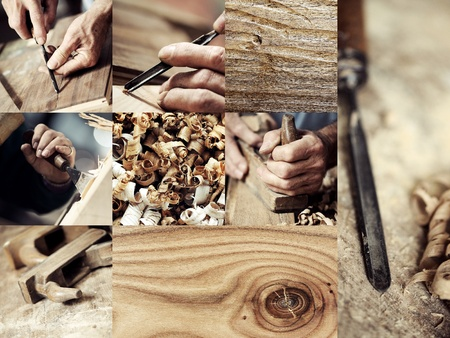 Wood work: carpenter and wood images collection Stock Photo