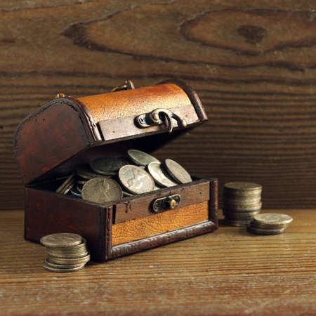 old coins: Treasure chest, old coins