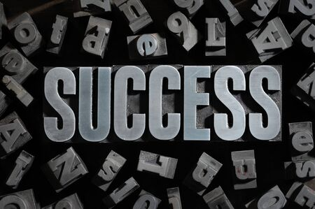 Old Metallic Letters:Success concept related words  photo