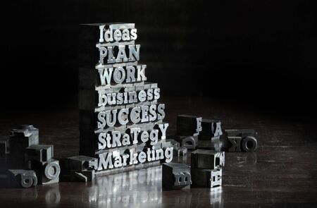 concept images: Business concept: words of antique metal letter-press type.