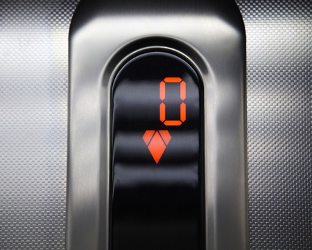 Elevator control panel. go down.
