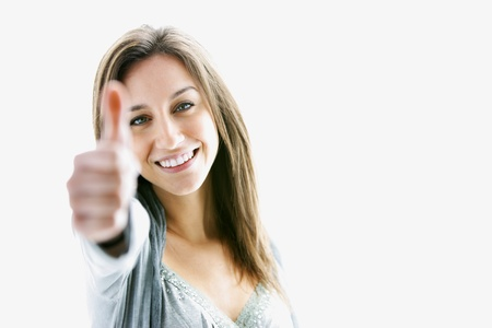 Success woman thumbs up Stock Photo - 12845435