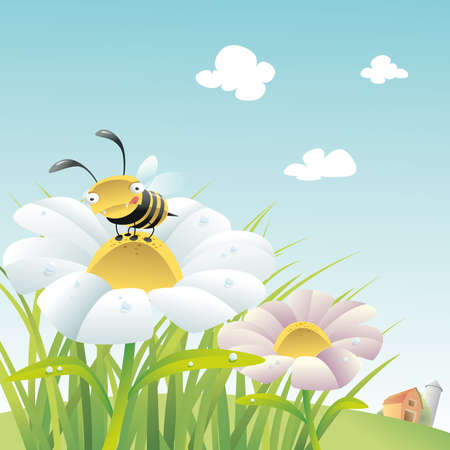 Vector illustration bee on a flower illustration