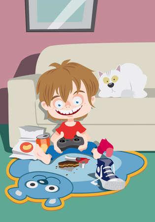 niños jugando videojuegos: Un niño empollón que juega en una consola de juegos en casa Foto de archivo