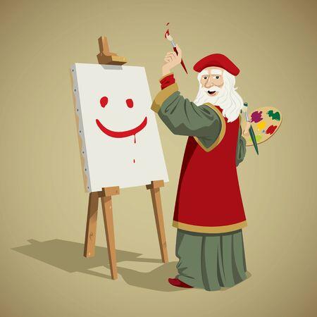 leonardo da vinci: leonardo da vinci painting a smile