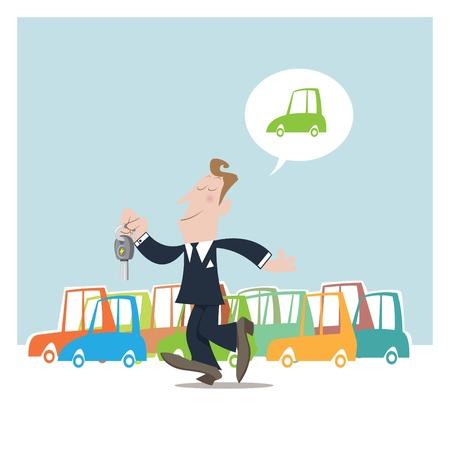 dealership: cars salesman with keys