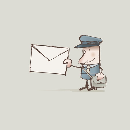 the postman: Cartoon cartero entrega de una carta