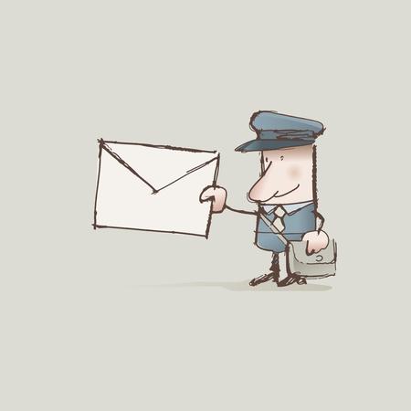 postman: Cartoon postman delivering a letter