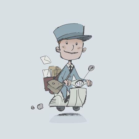 vespa piaggio: postino in scooter