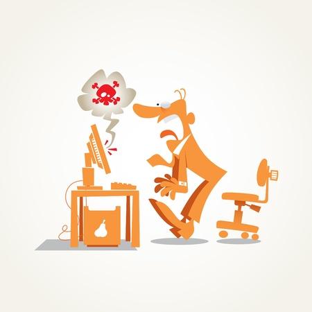 global problem: equipo se estrell�, hombre de negocios sentado delante del ordenador con la expresi�n facial desesperada
