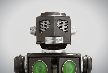 robot head: a head of robot toy, closeup,  Stock Photo