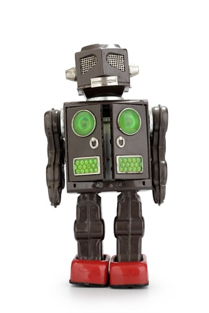 a  retro tin robot toy isolated on white background