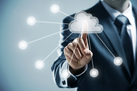 tecnologia: futuristico display: Cloud computing interfaccia touchscreen
