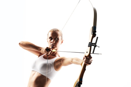 aiming: Beautiful woman aiming with bow and arrow
