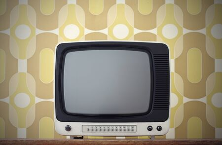 cathode ray tube: Old TV screen. on vintage background Stock Photo