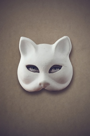 animal masks: mysterious woman: womans eyes with a cat mask Stock Photo