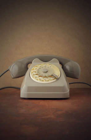 Old-fashioned phone, copy space photo
