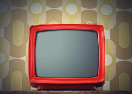 cathode ray tube: Old TV on vintage background Stock Photo
