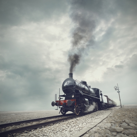 black train: steam engine train