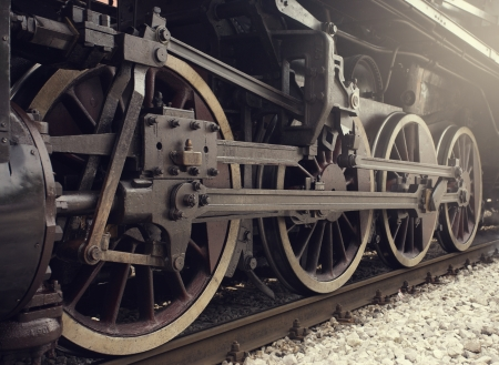 steam locomotives: Old locomotive wheels close up.